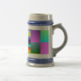 Colorful Squares and Rectangles Beer Stein