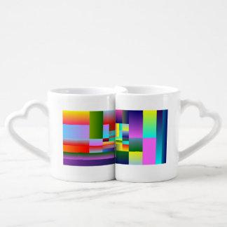 Colorful Squares and Rectangles Coffee Mug Set
