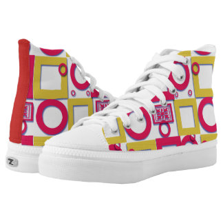 colorful squares and rings canvas shoes printed shoes