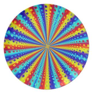 Colorful Squares Fractal Melamine Plate