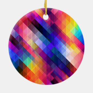 Colorful Squares Geometric Abstract Pattern Ceramic Ornament