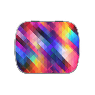 Colorful Squares Geometric Abstract Pattern Jelly Belly Candy Tin