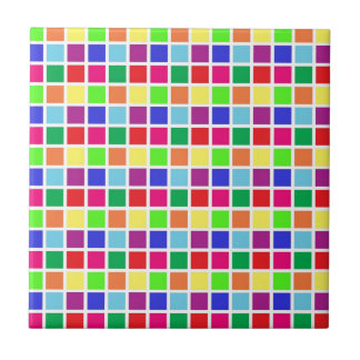 Colorful Squares on White Small Square Tile