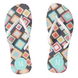 Colorful Squares Retro Pattern Monogram Thongs