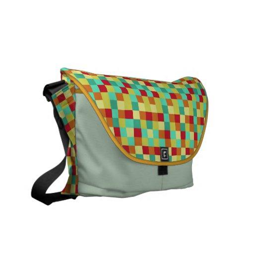 Colorful Squares Rickshaw Messenger Bag