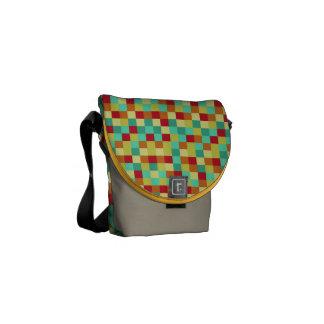 Colorful Squares Rickshaw Mini Messenger Bag
