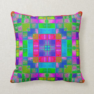 Colorful Squares Stained Glass Look Pillow