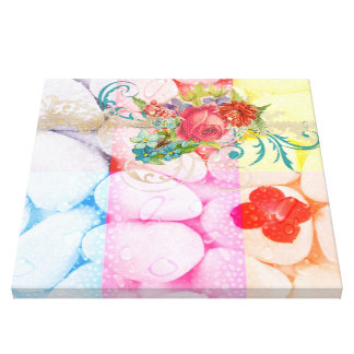 colorful squares water droplets vintage floral fun gallery wrap canvas