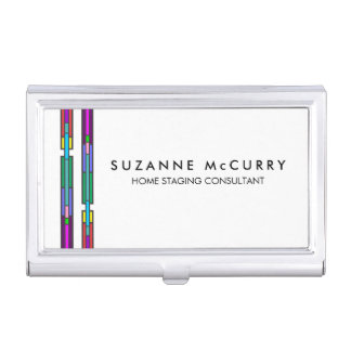 Colorful Stained Glass Design Business Card Holder