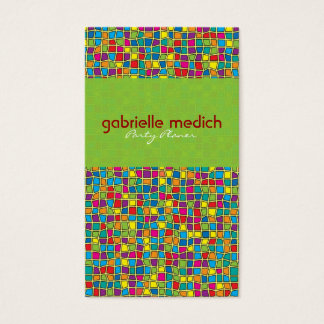 Colorful Stained Glass Look Geometric Pattern Business Card