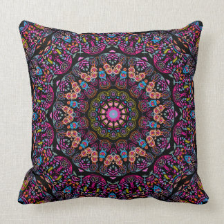 Colorful Stained Glass Look Rose Window Pillow