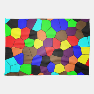 Colorful Stained Glass Mosaic Tiles Tea Towel