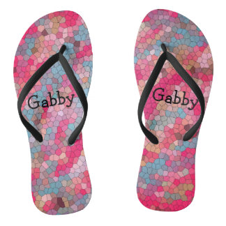 Colorful Stained Glass Pattern Personalized Fun Thongs