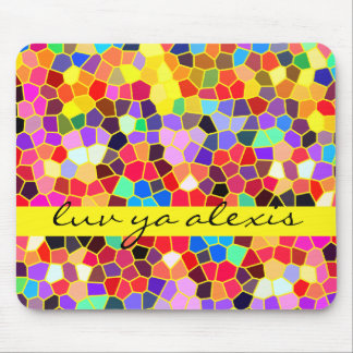 Colorful Stained Glass Rainbow Abstract Mosaic Mousepad