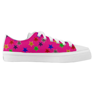 Colorful star buttons printed shoes