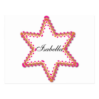 Colorful star of David design for Bat Mitzvah Post Cards