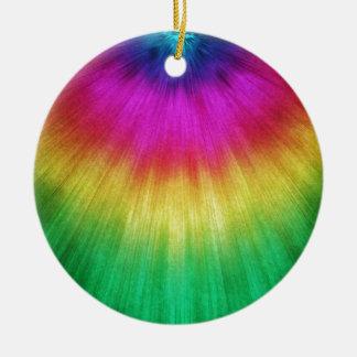 Colorful Starburst Tie Dye Ceramic Ornament