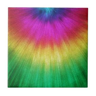 Colorful Starburst Tie Dye Ceramic Tile