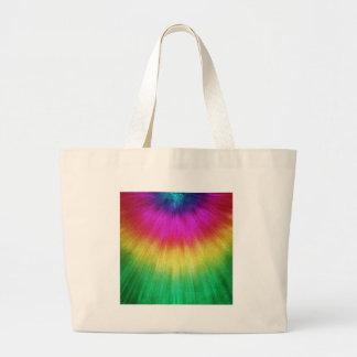 Colorful Starburst Tie Dye Large Tote Bag