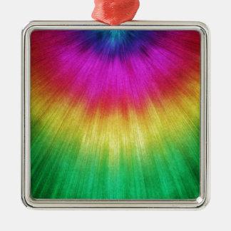 Colorful Starburst Tie Dye Metal Ornament