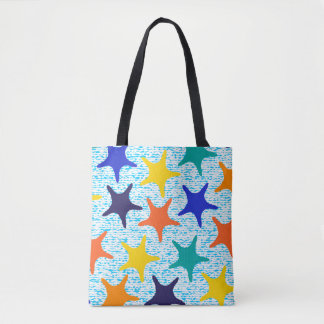 Colorful starfish pattern with stripes tote bag
