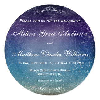 Colorful Stars in the Evening Sky Wedding Card