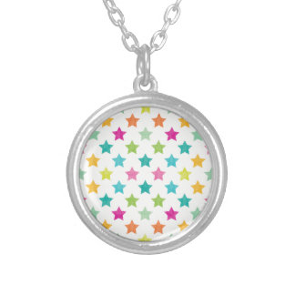 Colorful Stars IV Silver Plated Necklace