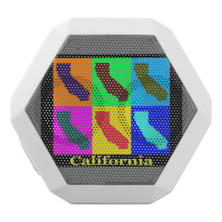 Colorful State of California  Pop Art Map White Boombot Rex Bluetooth Speaker
