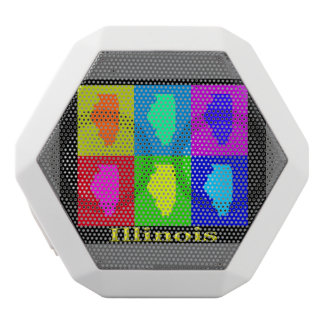 Colorful State of Illinois Pop Art Map White Boombot Rex Bluetooth Speaker