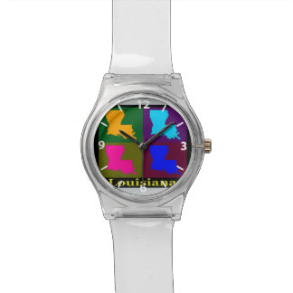 Colorful State of Louisiana Pop Art Map Watch