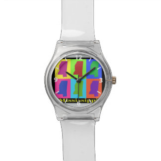 Colorful State of Mississippi Pop Art Map Watches