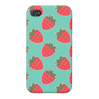 Colorful Strawberry Fruit Seamless Pattern iPhone 4 Case
