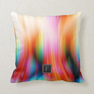 Colorful Streaked Abstract Monogram | Throw Pillow