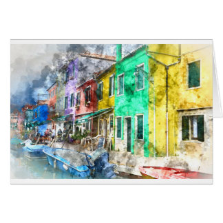 Colorful street in Burano near Venice Italy Card