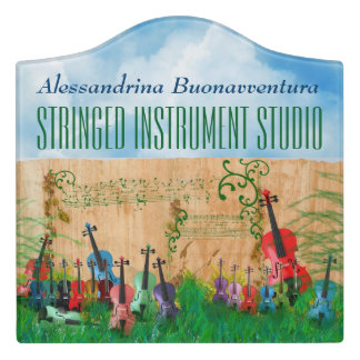 Colorful Stringed Instruments Garden Customizable Door Sign