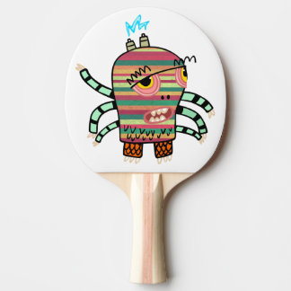 Colorful Striped Cartoon Monster with Six Arms