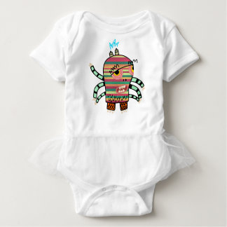 Colorful Striped Cartoon Monster with Six Arms Baby Bodysuit