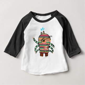 Colorful Striped Cartoon Monster with Six Arms Baby T-Shirt