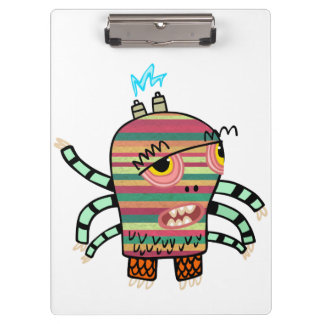 Colorful Striped Cartoon Monster with Six Arms Clipboards