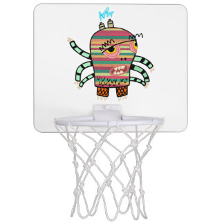 Colorful Striped Cartoon Monster with Six Arms Mini Basketball Hoop