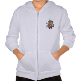 Colorful Striped Cartoon Monster with Six Arms Sweatshirts