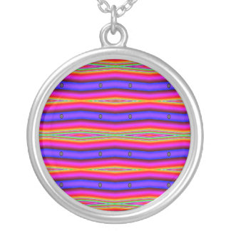 colorful striped fractal round pendant necklace