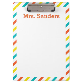 Colorful Striped Teacher's Clipboard