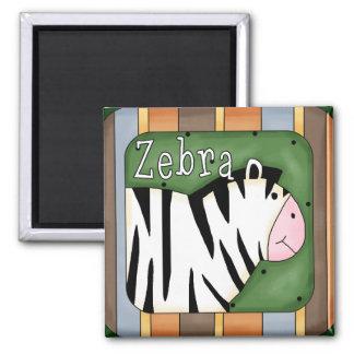 Colorful Striped Zebra Block Square Magnet