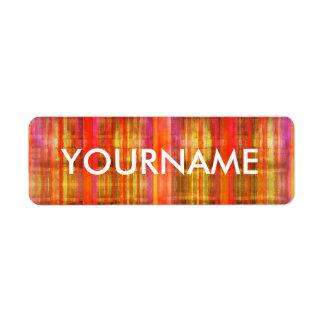 Colorful Stripes Art Pattern Name Label