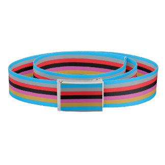 Colorful Stripes Black Pink Blue Gold Gray Red Belt
