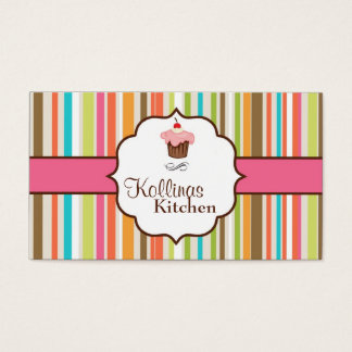 Colorful Stripes Cup Cake Bakery Business Card