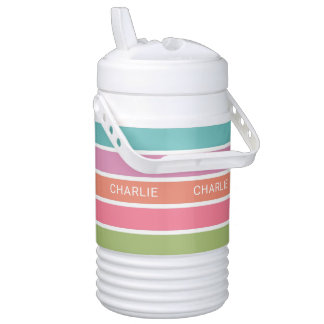 Colorful Stripes custom name beverage coolers Cooler
