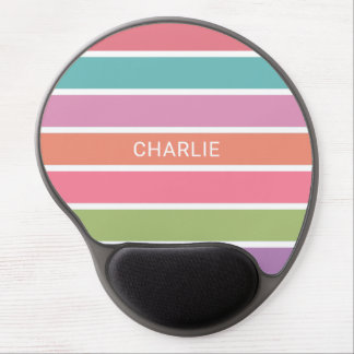 Colorful Stripes custom name mousepad Gel Mouse Pad