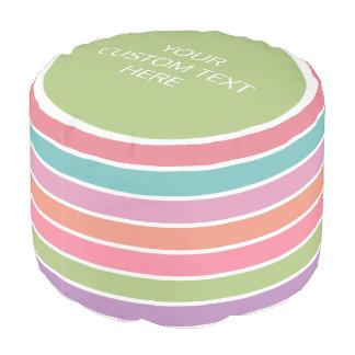 Colorful Stripes custom text poufs